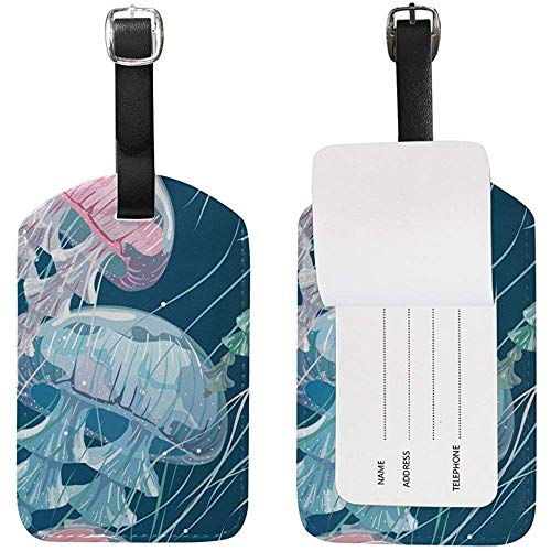Pink and Blue Sea Jelly Luggage Tag Travel ID Label Leather for Baggage Suitcase 2 Piece