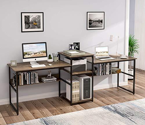 Sedeta Two Person Desk with Storage Shelves, 98 Inch Extra Long Double Computer Desk with Printer Shelf Bookshelf, Large Double Workstation Home Office Table Desks, Vintage Walnut