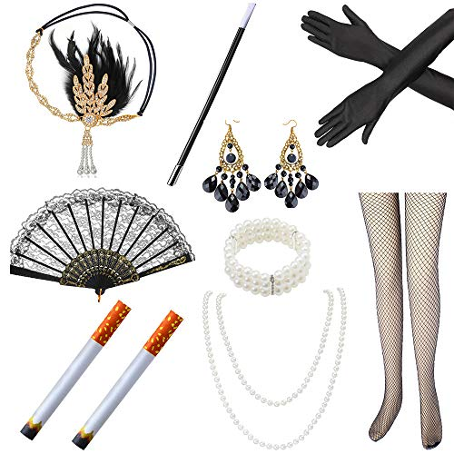 Beelittle 1920s Accessories Set Flapper Headband Pearl NecklaceGlovesNet Tights Fake Cigarette Great Gatsby Accessories for Women A3