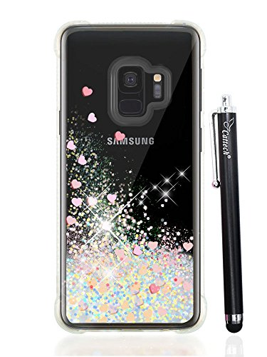 Galaxy S9 Case Glitter, Cattech Liquid Glitter Bling Sparkle Shiny Moving Quicksand - Slim Clear TPU Bumper Protective Non-slip Grip Phone Shockproof Cover for Samsung Galaxy S9 + Stylus (Silver/pink)
