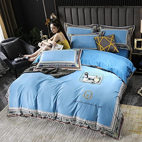 juego de funda de edredón cama matrimonio-Inicio Textil Textil Agua Lavado de agua Seda Seda Seda Bordado Lecho de cama Conjunto de cuatro piezas, Usado en Habitación Dormitorio Habitación para niños