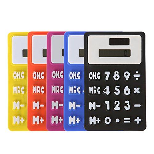 A0127 Taschenrechner, tragbar, Silikon, biegsam, elektronisches Display, solarbetrieben, Schreibwaren, Büromaterial, zufällige Farbauswahl