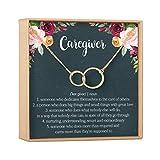 Caregiver Thank You Gift Necklace: Caretaker, Nurse, Attendant, Appreciation, 2 Asymmetrical Circles (rose-gold-plated-brass, NA)
