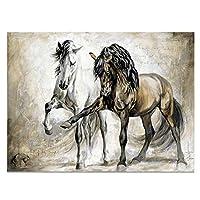 動物の壁アート絵画抽象的な馬のポスター壁のキャンバスの絵画リビングルームのプリント装飾(フレーム付き)