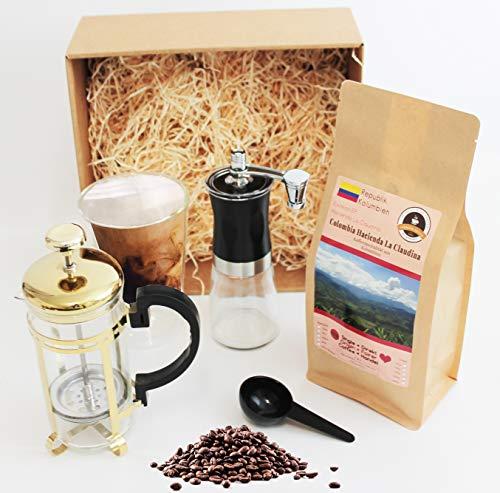 Kaffee Geschenkset mit Fair gehandelten Kaffeebohnen, Handmühle Stempelkanne und Gratis Kaffeebecher Länderkaffee Geschenk Set | Weihnachtsgeschenk | Nikolaus