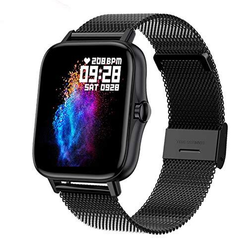 QKA Smartwatch, Llamada De Bluetooth, Reloj De Ritmo Cardíaco Y Presión Arterial, Reloj Deportivo Fitness Rastreador, Damas De Pantalla Completa De 1.7 Pulgadas Y Relojes Inteligentes para Hombres,A