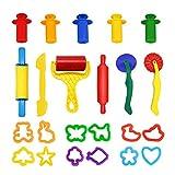 WonderforU Knetwerkzeug Teig Plastilin Werkzeuge, Knete zubehör Ausstechformen Küchenspielzeug, 23 Stück -