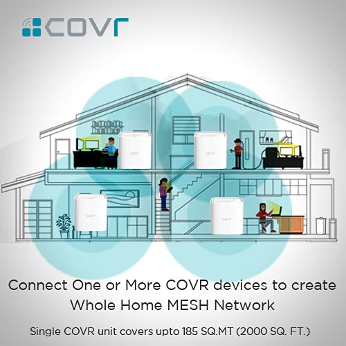 D-Link COVR 1100 AC1200 MU-MIMO Dual Band Whole Home EasyMesh Wi-Fi Router, Gigabit WAN/LAN Port, Coverage Up to 2000 sq.ft,Seamless Roaming,Voice Control Compatible