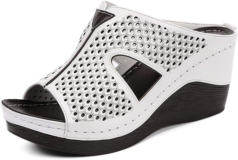 U-MAC Mid Heel Wedge Platform Sandals for Women Peep Toe Slip On Casual Soft Sole Slippers Ladies Summer Fashoin Outdoor Walking shoes