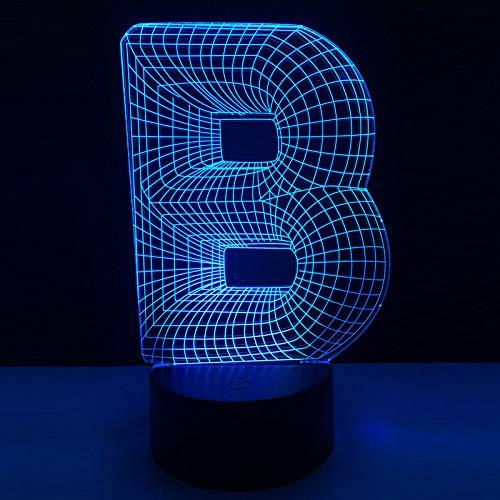 3D nachtlampje illusie lamp LED kinderen letter B. Licht sfeerlicht afstandsbediening bedlampje 7 kleuren wisselende afstandsbediening bureau lampen verjaardagscadeau