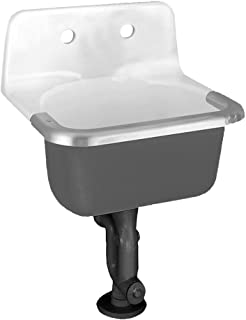 American Standard 7692.008.020 Lakewell Cast Iron Wall Mounted Service Sink with Drilled Back 2 Holes on 8-Inch Center and Rim Guard, 22 by 18-Inch, White