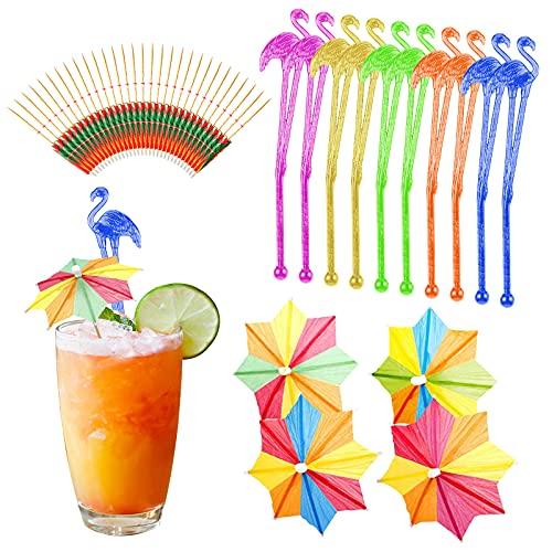 Cocktail Party Dekorationen, 50 Stück Flamingo-Cocktail-Rührer Swizzle-Sticks Papierschirm für Getränke Sommerparty Essen Getränke-Dekorationszubehör, zufällig gemischte Farbe