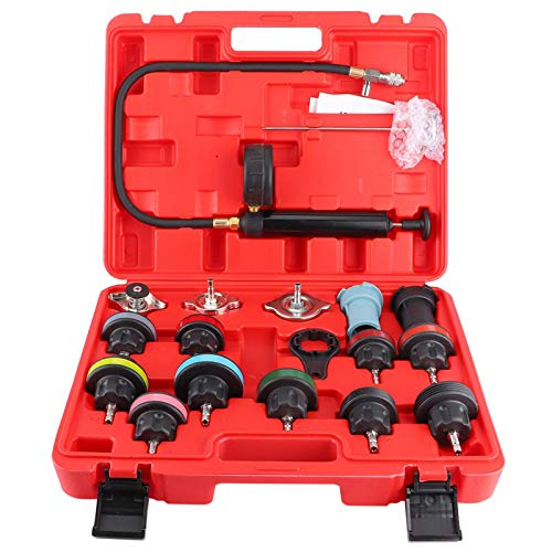 KIMISS Kit de comprobador de sistema de refrigeración de coche universal,comprobador de presión de refrigerante del radiador del detector de fugas del tanque de agua (18 piezas)