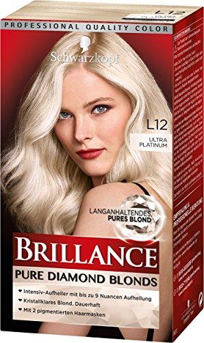 SCHWARZKOPF BRILLANCE Pure Diamond Blonds L12 Ultra Platinum Stufe 3, langanhaltendes pures Blond, 3er Pack (3 x 143 ml)