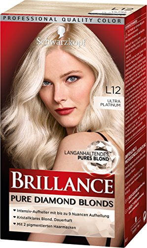SCHWARZKOPF BRILLANCE Pure Diamond Blonds L12 Ultra Platinum Stufe 3, langanhaltendes pures Blond, 3er Pack (3 x 143 ml)