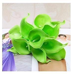 tutu.vivi 10pcs Calla Lily Bridal Wedding Bouquet Head Latex Real Touch Artificial Flower Home Party Wedding Decor Green