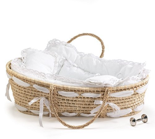 Burton and Burton Natural Baby Moses Basket with White Lace Bedding