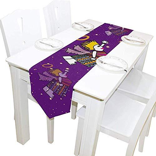 SESILY Chemin de Table imprimé de modèle d'esprit Africain de Rectangle 33x178cm pour des Vacances d'anniversaire de Mariage