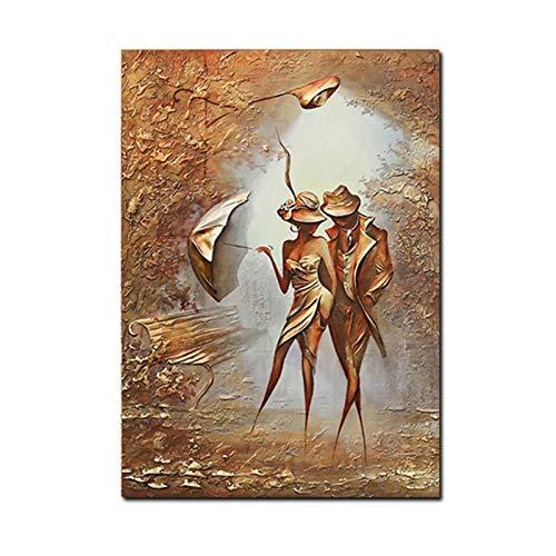 Mxibun Abstrakcyjny obraz na płótnie cudowna miłość romantyczna para idź do domu plakaty i wydruki sztuka ścienna obraz do salonu dekoracja - 60 x 90 cm x 1 bez ramki