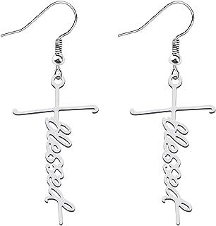 FAADBUK Faith Cross Earrings Christian Gift Hope Blessed Fearless Pary Pendant Earrings Religious Jewelry For Women Girls