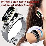 Sincerest New Smart Bracelet & BT Wireless Earphone 2 in 1 Watch Blood Pressure Heart Rate Monitor Oxygen Fitness Tracker Headphone Answer or Reject Call Headset Sport Music Microphones