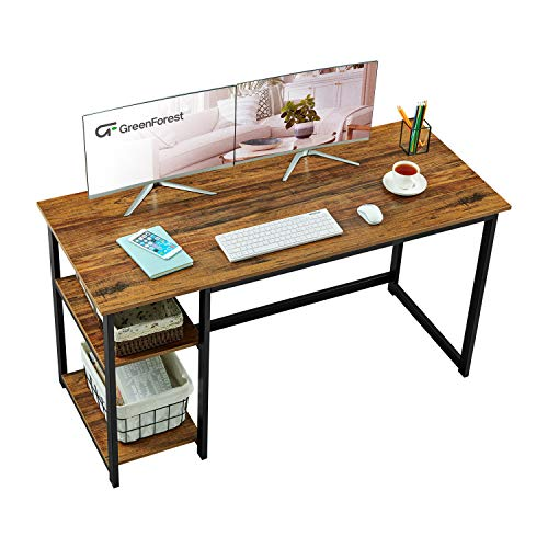 GreenForest Home Office Desk with 2-Tier Storage Shelves 47  Computer Writing Desk Modern PC Laptop Workstation Study Working Table, Walnut