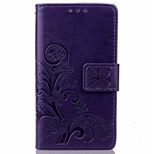 Capa para Sony Xperia Z5 Compact Bookstyle, Capa carteira de couro PU Clover (roxa)