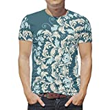 O2ECH-8 Mann Herren Mandala T-Shirt Unisex Shirt, Teal Mandala Freizeit - Streifen Drucken Runder Kragen Kurzarmhemd White s