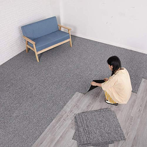 "MYOYAY Commercial Carpet Tiles, 20""x 20"" Carpet Floor Tiles with Anti-Slip PVC Back, Non Slip Square Carpet Tiles for Residential & Commercial Flooring Use(28 Pieces, Light Grey)"