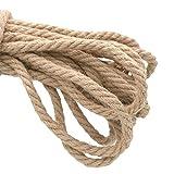 10M Cuerda de yute 10mm, Cuerda de Cáñamo gruesa para Artesanía Embalaje...