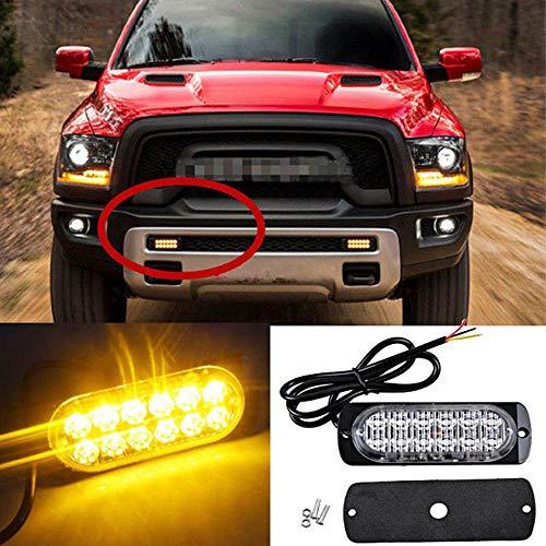 12 V-24 V Ambre 12 LED 36 W Voiture Camion Flash Barre d'avertissement d'urgence 50 000 heures