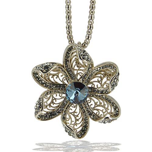 Joyas de fantasía para mujer, collar largo con colgante de flor de acero inoxidable, rodio bronce con cristales swaroski azul, cadena y colgante para mujer, collar largo con colgante turquesa