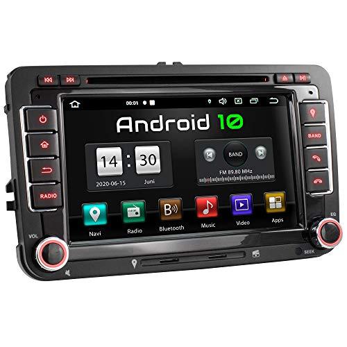 XOMAX XM-10GA Radio de Coche con Android 10 Adecuado para VW Seat Skoda I 4Core, 2GB RAM, 32GB ROM I GPS I Soporte WiFi, 3G, 4G, Dab+, OBD2 I Bluetooth I 7' Pantalla Táctil I DVD, CD, USB, SD, RDS
