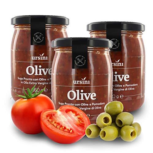 Ursini Salsa de Tomate con Aceitunas y AOVE, sin azúcar - 260 gr (Paquete de 3 Piezas)