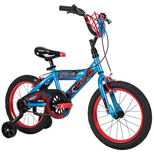 Huffy Marvel Spider-Man Kid Bike Quick Connect Assembly, Web Plaque & Training Wheels, 16' Blue