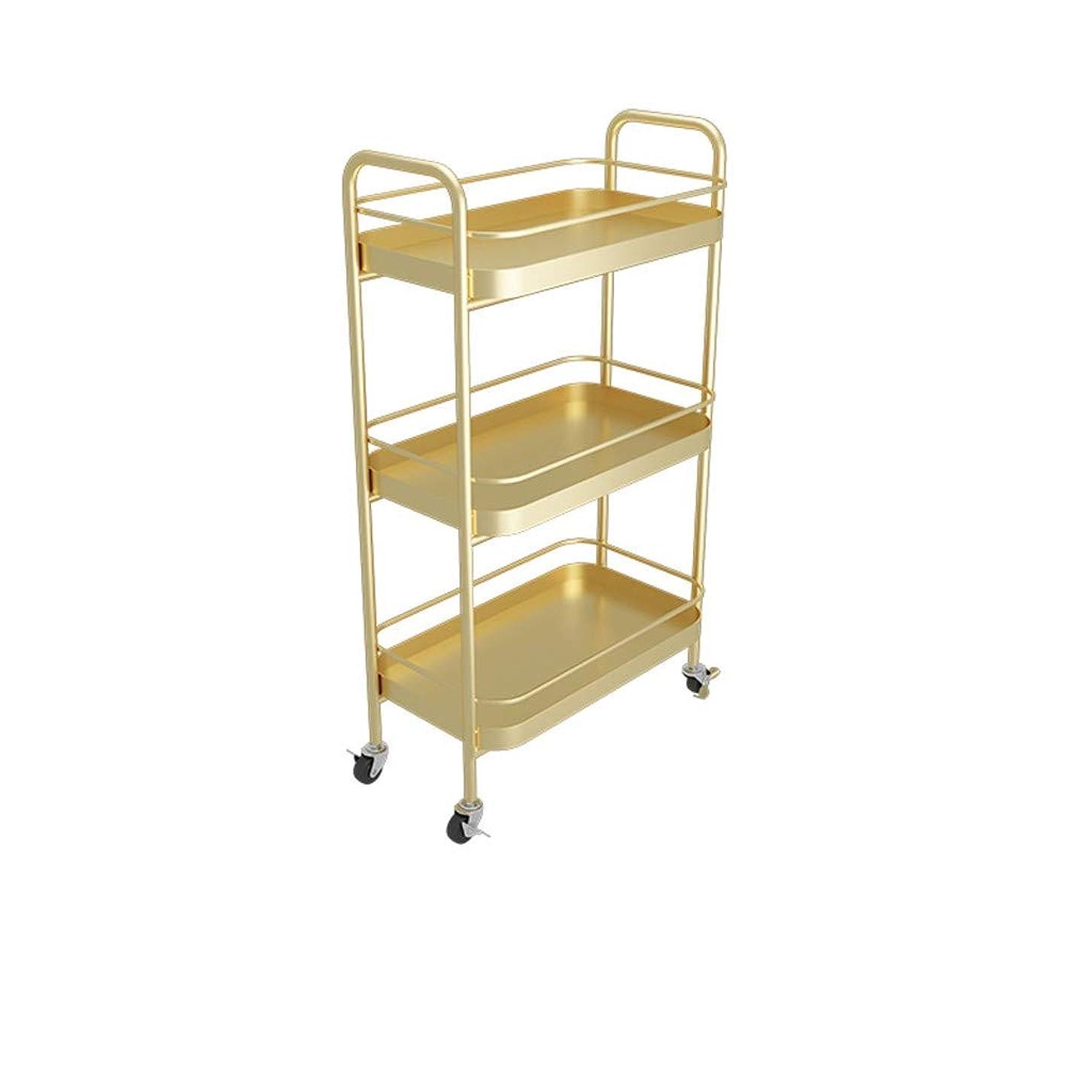 疑問を超えて薄い番目CSQ 3ティアユーティリティカート、ベッドルーム保育園パントリー浴室大規模なストレージカート用ホイール付き多機能オーガナイザーカート (Color : Gold, Size : 25*45*81CM)
