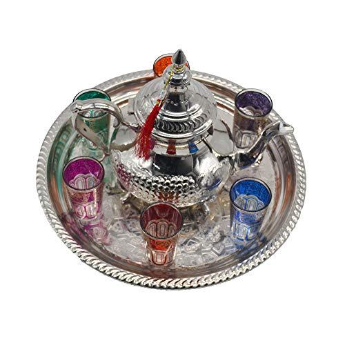 Juego de té Modelo Marruecos, Tetera 1 litro más Bandeja 38 cm diámetro y 6 Vasos típicos de Cristal. Mod. manch.