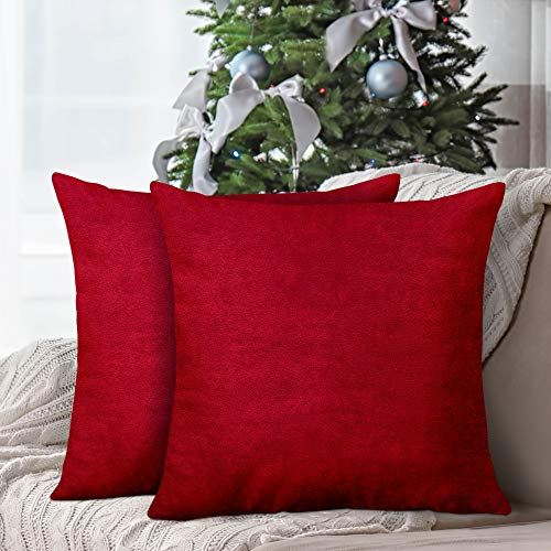 InnoGear Set of 2 Velvet Pillow Covers Soft Decorative Square Throw Pillow Covers 18 x 18 inches Design Cushion Case for Home Decor Sofa Bedroom Car, Covers ONLY (Wine Red)