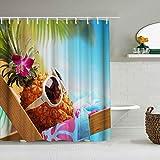 SSZO Cortina de Ducha Impermeable,Piña Linda,Cortinas de baño de poliéster de diseño 3D con 12 Ganchos,tamaño 180 x 180cm
