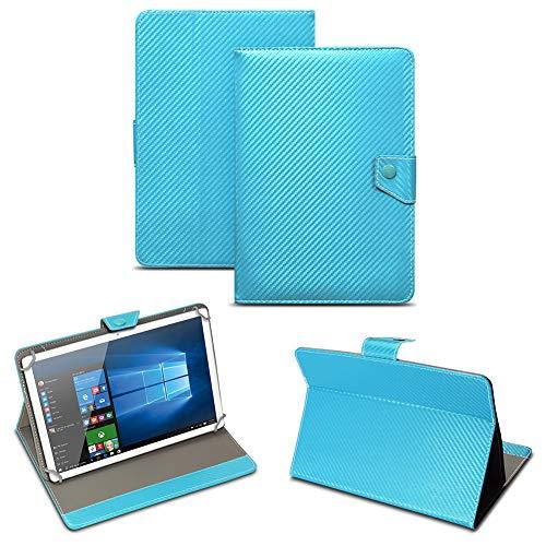 NAUC Universal Tablet Tasche mit Standfunktion Hülle für Blaupunkt Endeavour 101M 101G 101L Tablet Schutztasche in Edler Carbon-Optik Schutzhülle Cover Case, Farben:Türkis