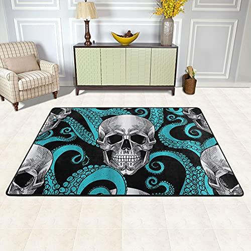 Alfombra de área para sala de estar, azul pulpo Kraken Sugar Skull antideslizante alfombra para el piso de la decoración del hogar dormitorio