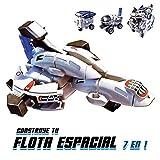 Xtrem Bots- Construye tu Flota 7 en 1, Robot construccion, robotica para niños, Juguete Educativo, Naves espaciales niño, energía Solar, Color Blanco (World Brands XT380816)