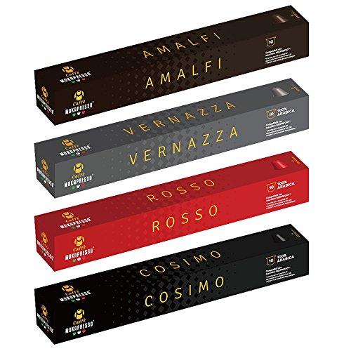 ネスプレッソ (Nespresso)互換カプセル MOKAPRESSO/モカプレッソ カプセルコーヒー 4種アソートセット ROSSO VERNAZZA COSIMO AMALFI 国内正規品 40カプセル入 4パック入り徳用 Cafe カフェ