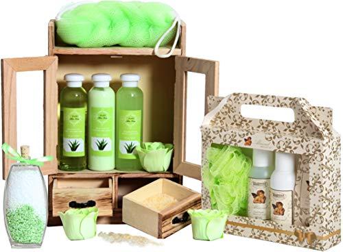 BRUBAKER set benessere beauty in comodo armadietto in legno – 15 pezzi al profumo di aloe vera e vaniglia