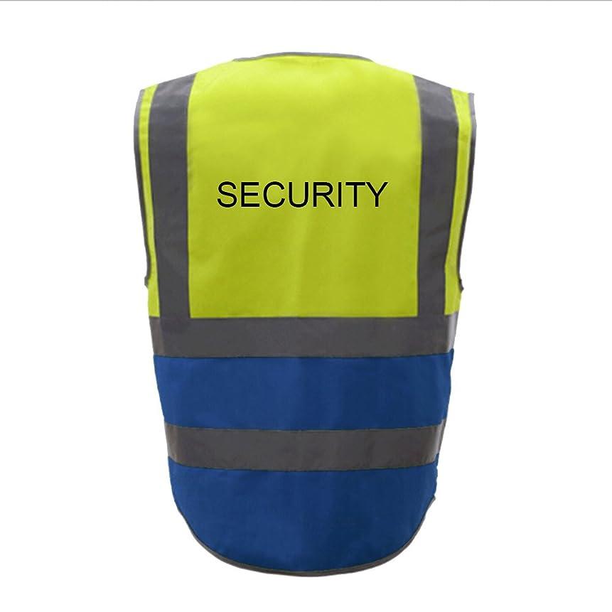 ご意見余計なキャラバンTOPTIE 50 PCSセキュリティ8ポケットジッパーフロント高視認性反射安全ベスト卸売 - イエロー/ブルー - XL
