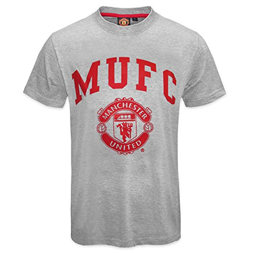 Manchester United FC Official Soccer Gift Mens T-Shirt Grey MUFC Small