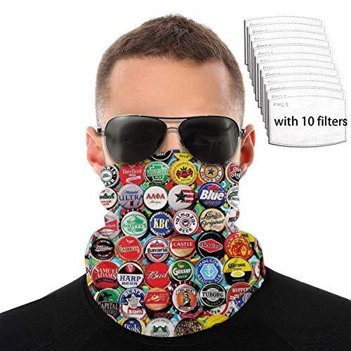 Juego de tapas de botella de cerveza mundial con protección UV, máscara facial, polaina para el cuello con 10 filtros, bufanda a prueba de viento, diadema, protector solar, bandana transpirable