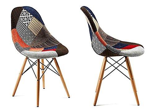 MAMICASA Chaise Revêtement en Tissu véritable Patchwork avec Jambes en Bois Sillas Tapizada C/Patas Madère Style Charles Eames