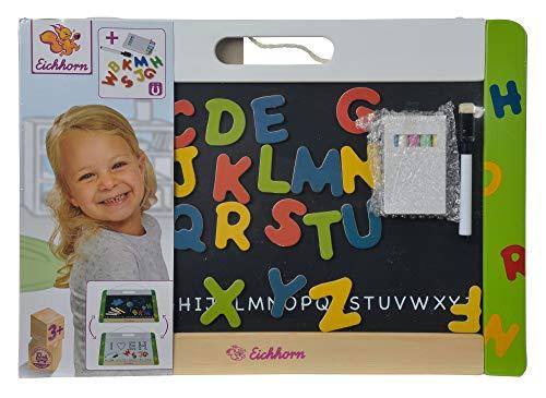 Eichhorn 100002577 - Hänge-Magnettafel 42x30cm, 1 magnetische weiße Folienstiftfläche / 1 magnetische Tafelblattfläche für Kreide inkl. 26 Magnetbuchstaben, 5 Kreiden und 1 Folienstift