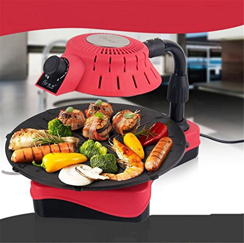 CLODY Grill Senza Fumo Home Easy 3D Infrared Grill Elettrico Antiaderente Teppanyaki Commerciale,Red
